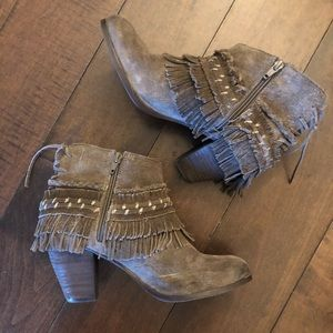 Naughty Monkey Taupe Fringe Booties size 8